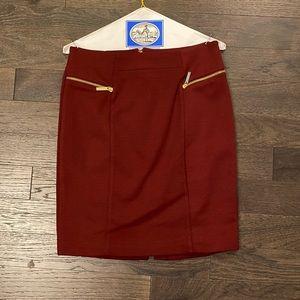 Michael Kors Maroon Skirt with Gold Zipper Details